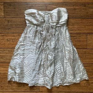 Express Dresses - Champagne ahold Strapless Ripple Print Dress